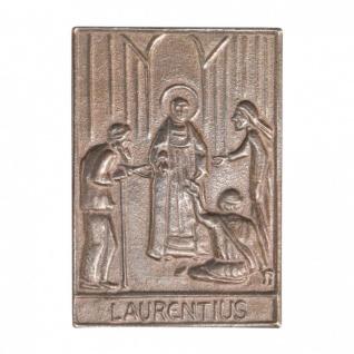 Namenstag Laurentius 8 x 6 cm Bronzeplakette Bronzerelief Wandbild Schutzpatron
