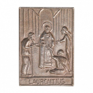 Namenstag Laurentius 8 x 6 cm Bronzeplakette