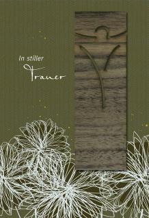 Trauerkarte In stiller Trauer (5 Stck) Lesezeichen Holz Bibel Beileid Kondolenz