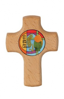Wandkreuz Brot des Lebens 9 x 7 cm Kommunion Holzkreuz Kruzifix Kreuz
