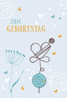Glückwunschkarte Geburtstag Blumen-Stecker 5 St Kuvert Schmetterling Naturpapier