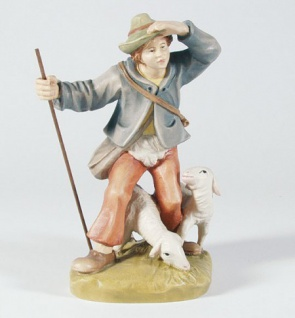 Krippenfigur Hirte mit Schafen Mesner-Krippe 22 cm Krippen Figur Weihnachten