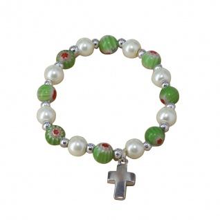 Armband Kruzifix Blüten-Perlen Metallkreuz Ø 7 cm Perlmuttfarben Armschmuck