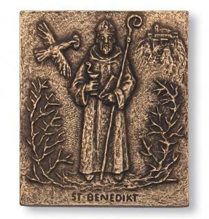 Namenstag Benedikt Bronzeplakette 13 x 10 cm Namenspatron