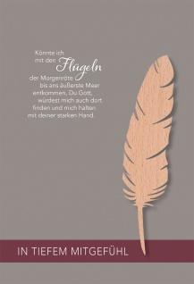 Trauerkarte Mitgefühl Holz-Feder 5 St Kuvert Psalm Bibelwort Bibelmeditation Gott