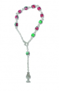10er Rosenkranz mit Kunstguss-Perlen 16 cm Auto-Rosenkranz Rückspiegel