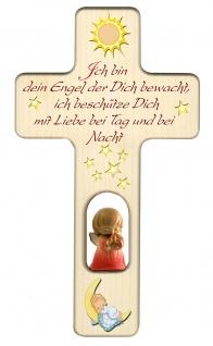 Kreuz für Kinder Schutzengel, rot Gute Nacht Gebet Kruzifix Holz-Kreuz Wandkreuz