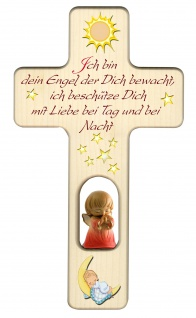 Kreuz für Kinder Schutzengel Gute Nacht Gebet Kruzifix Holz-Kreuz Wandkreuz