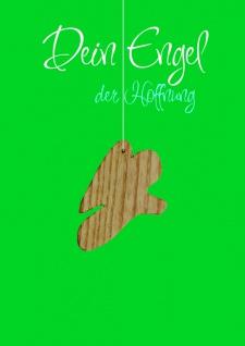 Doppelkarte Dein Engel der Hoffnung (5 Stück) Schutzengel Holz-Anhänger Grußkarte