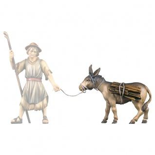 Esel mit Holz Holzfigur geschnitzt Südtirol Krippenfigur Ulrich Krippe