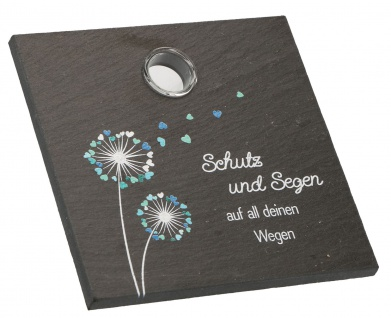 Schieferrelief Schutz und Segen 10 cm mit Glas-Vase Geschenkverpackung