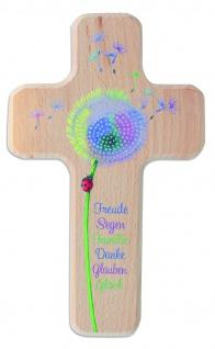Kinderkreuz Holzkreuz Kommunion weiß Pusteblume 18 cm Wandkreuz