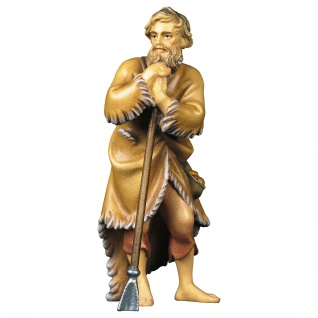 Schäfer mit Hirtenstab Holzfigur geschnitzt Südtirol Krippenfigur