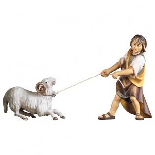 Junge ziehend mit Schafbock 2 Teile Holzfigur geschnitzt Südtirol Krippenfigur