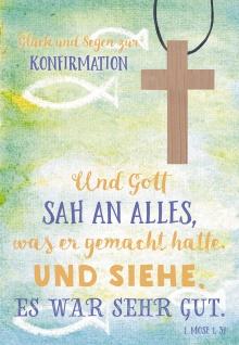 Konfirmation Grußkarte Glück und Segen (5 St) mit Kreuz Holzanhänger