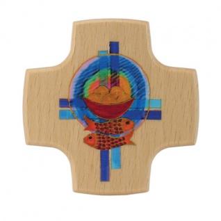 Wandkreuz Holzkreuz Buche Kruzifix Kreuz Brot Fische Kreuze 8 x 8 cm Kommunion