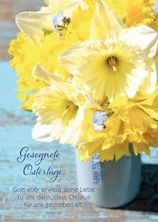 Postkarte Ostern 10 St Adressfeld Bibelwort Römer Frühlingsstrauß Auferstehung