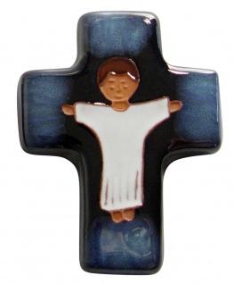 Kinderkreuz Kommunion-Kreuz Keramik blau 10, 5 x 8 cm Wandkreuz Erstkommunion