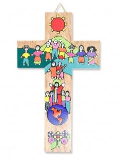 Kinderkreuz Freunde Naturholz El Salvador 15cm Handarbeit Wandkreuz Gotteskinder