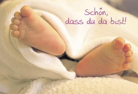 Geburtskarte Schön, dass du da bist! (6 Stck) Füßchen Glückwunschkarte Geburt