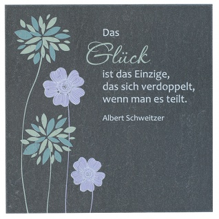 Schiefertafel Glück 10 x 10 cm Albert Schweitzer Wandbild Deko
