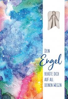 Grußkarte Dein Engel behüte dich mit Metall Engel-Plakette (5 Stück mit Kuvert)