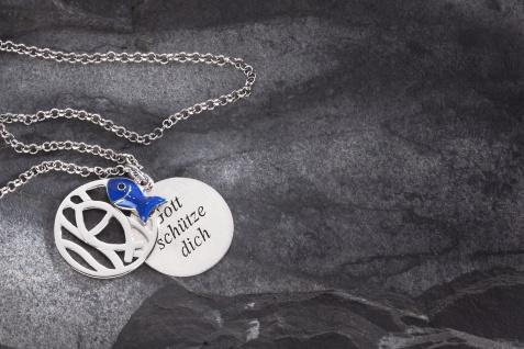 Anhänger Gott schütze dich, 3-teilig Fisch blau emailiert, Kette 925 Silber