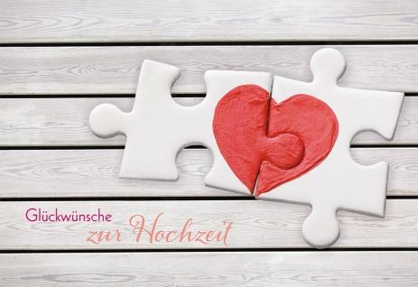 Glückwunschkarte Hochzeit Herz 6 St Kuvert Puzzle Liebe Trauung