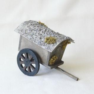 Wagen geschlossen Holz handgefertigt 15 cm Zubehör für Weihnachtskrippe