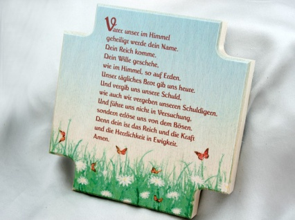 Haussegen -Vater unser- Naturholz bunt 12 x 12 cm