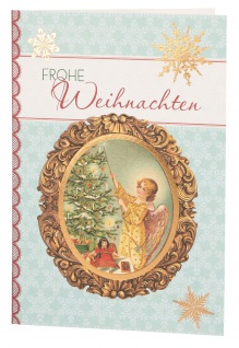 Glückwunschkarte Frohe Weihnachten (6 St) Engel und Weihnachtsbaum Grußkarte