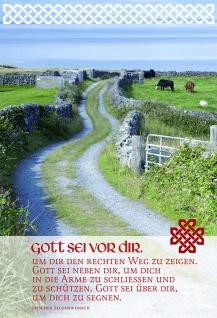 Grußkarte Irischer Segenswunsch 6 Stück Kuvert Gott Weg Vertrauen Glauben