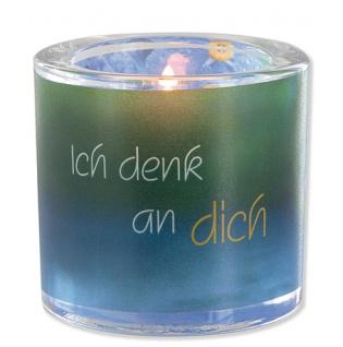 Glaswindlicht Ich denk an dich inkl Teelicht Kerzenhalter Glas für Windlicht