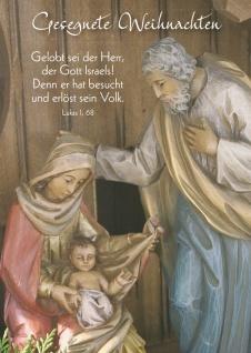 Postkarte Gesegnete Weihnachten Bibelwort (10 Stück) Heilige Familie Grußkarte
