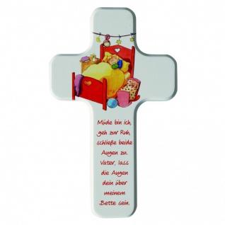 Kinderkreuz Müde bin ich Gute-Nacht-Gebet 18 cm Wandkreuz Holzkreuz