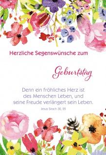 Glückwunschkarte Geburtstag Stickerbogen 6 St Kuvert Bibelwort Blumen Jahreszahl