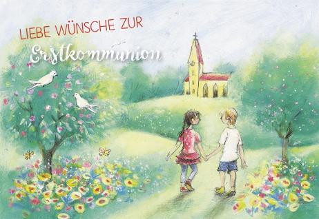 Glückwunschkarte Liebe Wünsche zur Kommunion (6 St) Kinder auf dem Weg zur Kirche