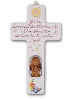 Kinderkreuz weiß Tonengel Naturholz Ich bin Dein 20 cm Wandkreuz Holzkreuz