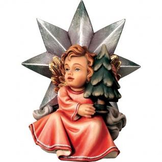 Sternengel mit Christbaum Holzfigur geschnitzt handbemalt Engelfigur Südtirol