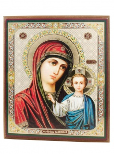 Ikonenbild Madonna mit Kind Holzplatte 12 cm Wandbild Deko