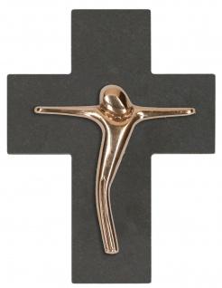 Wandkreuz Bronze-Korpus Kreuz Kruzifix Schiefer Anke Cöhnen Geschenkverpackung