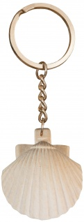 Schlüsselanhänger Jakobsweg Pilger Muschel Ahornholz hell 10, 5 cm