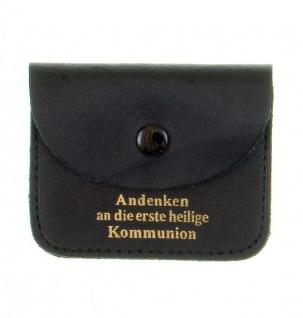 Rosenkranz Etui Heilige Kommunion Leder schwarz Schmucketui Tasche