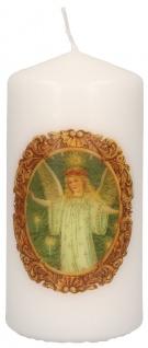 Stumpenkerze Weihnachten Engel Hoffmann von Fallersleben mit Druckmotiv 10 cm