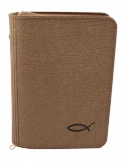Gotteslobhülle Fisch Lederfaser Öko-Soft Natur Gesangbuch Einband Katholisch