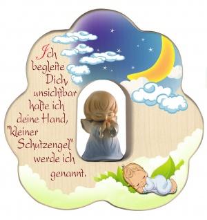 Wolke mit geschnitztem Schutzengel Blau Segen Gebet Holz 12 cm Kinderzimmer