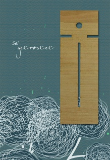 Trauerkarte Sei getröstet (5 Stck) Lesezeichen Holz Psalm Beileid Kondolenzkarte