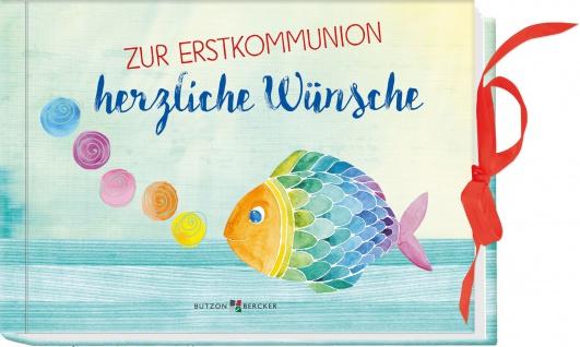 Zur Erstkommunion herzliche Wünsche Geschenkbuch Gutscheintasche