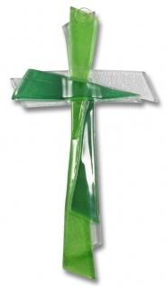 Kreuz aus Glas Kreuz grün weiss 21cm Wandkreuz Modern Kruzifix Glaskreuz