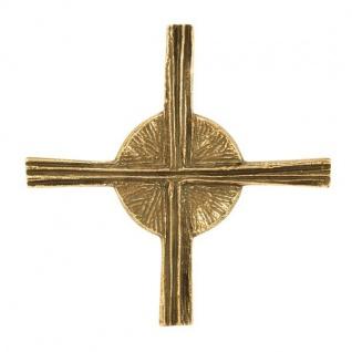 Wandkreuz Kreuz und Sonne Bronze massiv 10 x 10 cm Andrea Zrenner